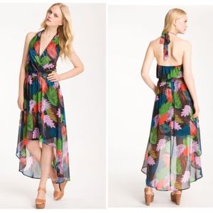Bellatrix Tropical HiLow Chiffon Maxi Halter Dress